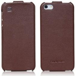 """""""HOCO"""" Duke vertikaliai atverčiamas dėklas - rudas (iPhone 5 / 5S / SE)"""