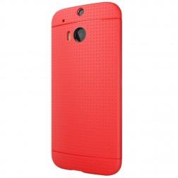 """""""Dots"""" kieto silikono (TPU) dėklas - raudonas (One M8 / One M8s)"""