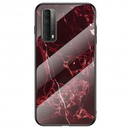 """""""Marble"""" kieto silikono (TPU) dėklas - juodas / raudonas (P smart 2021)"""