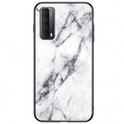 """""""Marble"""" kieto silikono (TPU) dėklas - baltas (P smart 2021)"""
