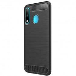 """""""Carbon"""" kieto silikono (TPU) dėklas - juodas (P30 Lite)"""