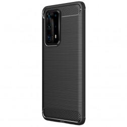 """""""Carbon"""" kieto silikono (TPU) dėklas - juodas (P40 Pro+)"""