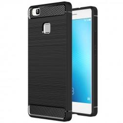 """""""Carbon"""" kieto silikono (TPU) dėklas - juodas (P9 Lite)"""