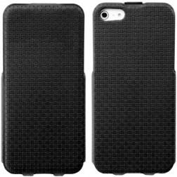 """""""Banpa"""" Woven vertikaliai atverčiamas dėklas - juodas (iPhone 5 / 5S / SE)"""