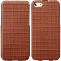"""""""Banpa"""" Woven vertikaliai atverčiamas dėklas - rudas (iPhone 5 / 5S / SE)"""