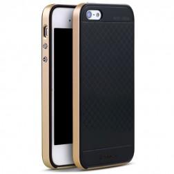 """""""IPAKY"""" kieto silikono (TPU) dėklas - juodas / auksinis (iPhone 5 / 5S / SE)"""