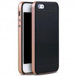 """""""IPAKY"""" kieto silikono (TPU) dėklas - juodas / rožinis (iPhone 5 / 5S / SE)"""