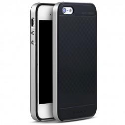 """""""IPAKY"""" kieto silikono (TPU) dėklas - juodas / sidabrinis (iPhone 5 / 5S / SE)"""