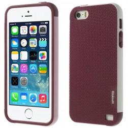 """""""Walnutt"""" kieto silikono dėklas - bordo / baltas (iPhone 5 / 5s / SE)"""