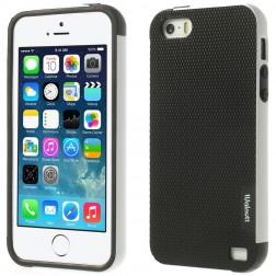 """""""Walnutt"""" kieto silikono dėklas - juodas / baltas (iPhone 5 / 5s / SE)"""