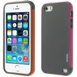 """""""Walnutt"""" kieto silikono dėklas - pilkas / rožinis (iPhone 5 / 5s / SE)"""