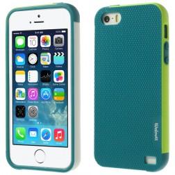 """""""Walnutt"""" kieto silikono dėklas - tamsiai žalias / šviesiai žalias (iPhone 5 / 5s / SE)"""