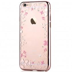 """""""Devia"""" Flowers Swarovski dėklas - auksinis (iPhone 6 / 6S)"""