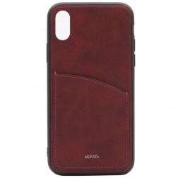 """""""MOKKA"""" Retro dėklas su kišenėle - bordo (iPhone X / Xs)"""