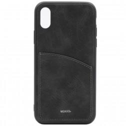 """""""MOKKA"""" Retro dėklas su kišenėle - juodas (iPhone X / Xs)"""