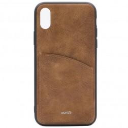 """""""MOKKA"""" Retro dėklas su kišenėle - rudas (iPhone X / Xs)"""