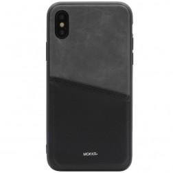 """""""MOKKA"""" Svelte dėklas su kišenėle - juodas / pilkas (iPhone X / Xs)"""
