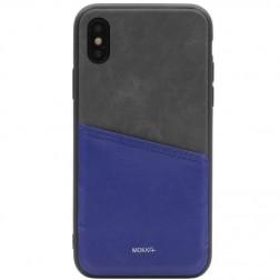 """""""MOKKA"""" Svelte dėklas su kišenėle - mėlynas / pilkas (iPhone X / Xs)"""