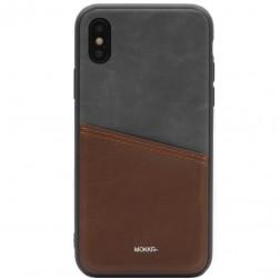 """""""MOKKA"""" Svelte dėklas su kišenėle - rudas / pilkas (iPhone X / Xs)"""