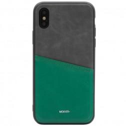 """""""MOKKA"""" Svelte dėklas su kišenėle - žalias / pilkas (iPhone X / Xs)"""