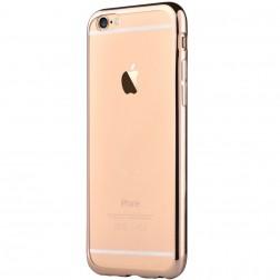 """""""Devia"""" Glitter dėklas - skaidrus, auksinis + apsauginis ekrano stiklas (iPhone 7 / 8)"""