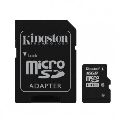 """Kingston"" MicroSD atminties kortelė - 16 Gb (10 Klasė) + SD adapteris"