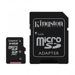 """Kingston"" MicroSD atminties kortelė - 64 Gb (10 Klasė) + SD adapteris"