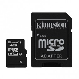 """Kingston"" MicroSD atminties kortelė - 4 Gb (10 Klasė) + SD adapteris"