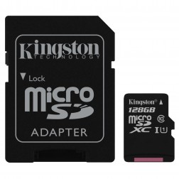 """Kingston"" MicroSD atminties kortelė - 128 Gb (10 Klasė) + SD adapteris"