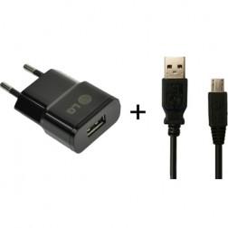 """""""LG"""" sieninis įkroviklis - juodas + micro USB laidas"""