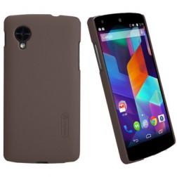 """""""Nillkin"""" Super Frosted dėklas - rudas + apsauginė ekrano plėvelė (Nexus 5)"""