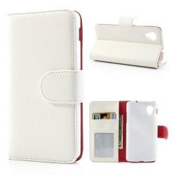 """""""Litchi"""" odinis dėklas, piniginė - baltas (Nexus 5)"""