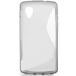 Kieto silikono (TPU) dėklas - skaidrus, pilkas (Nexus 5)