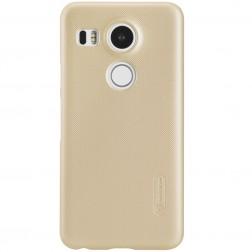 """""""Nillkin"""" Frosted Shield dėklas - auksinis + apsauginė ekrano plėvelė (Nexus 5X)"""