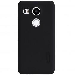"""""""Nillkin"""" Frosted Shield dėklas - juodas + apsauginė ekrano plėvelė (Nexus 5X)"""