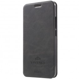 """""""Mofi"""" Vintage atverčiamas dėklas - juodas (m5 note)"""