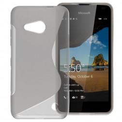 Kieto silikono (TPU) dėklas - skaidrus, pilkas (Lumia 550)