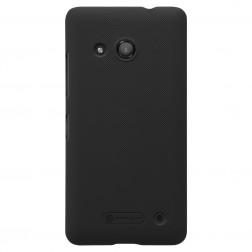 """""""Nillkin"""" Frosted Shield dėklas - juodas + apsauginė ekrano plėvelė (Lumia 550)"""