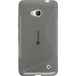 Kieto silikono (TPU) dėklas - skaidrus, pilkas (Lumia 640)