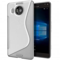 Kieto silikono (TPU) dėklas - skaidrus, pilkas (Lumia 950 XL)