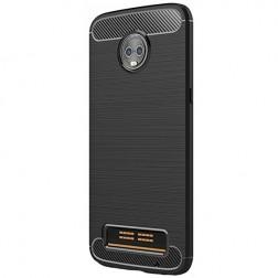 """""""Carbon"""" kieto silikono (TPU) dėklas - juodas (Moto Z3 Play)"""