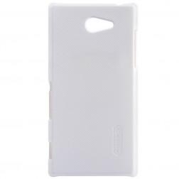 """""""Nillkin"""" Frosted Shield dėklas - baltas + apsauginė ekrano plėvelė (Xperia M2)"""