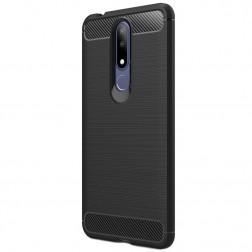 """""""Carbon"""" kieto silikono (TPU) dėklas - juodas (Nokia 3.1 Plus 2018)"""