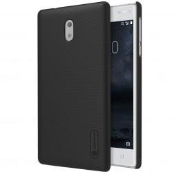 """""""Nillkin"""" Frosted Shield dėklas - juodas + apsauginė ekrano plėvelė (Nokia 3)"""