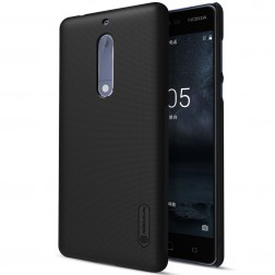 """""""Nillkin"""" Frosted Shield dėklas - juodas + apsauginė ekrano plėvelė (Nokia 5)"""