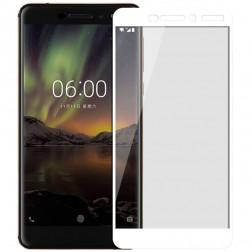 """""""Mofi"""" Tempered Glass pilnai dengiantis apsauginis ekrano stiklas 0.2 mm - baltas (Nokia 6 2018)"""