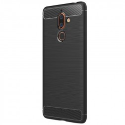 """""""Carbon"""" kieto silikono (TPU) dėklas - juodas (Nokia 7 Plus)"""
