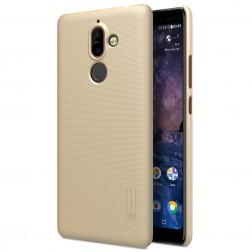 """""""Nillkin"""" Frosted Shield dėklas - auksinis + apsauginė ekrano plėvelė (Nokia 7 Plus)"""