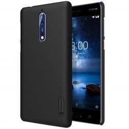 """""""Nillkin"""" Frosted Shield dėklas - juodas + apsauginė ekrano plėvelė (Nokia 8)"""