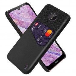 """""""KSQ"""" Shell dėklas su kišenėle - juodas (Nokia C10 / C20)"""